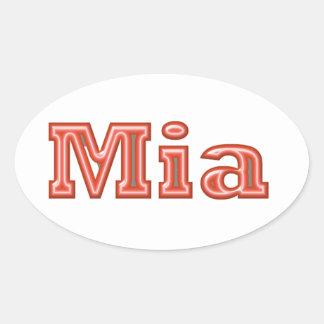 MIAの   女の子の名前の文字 楕円形シール