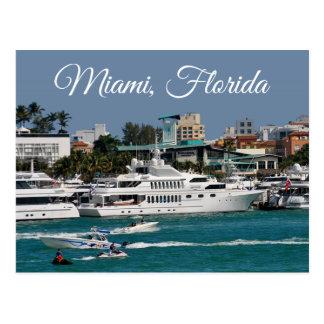 Miami Beachのマリーナのフロリダ旅行郵便はがき ポストカード