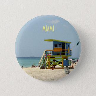Miami Beachのライフガードの掘っ建て小屋 缶バッジ