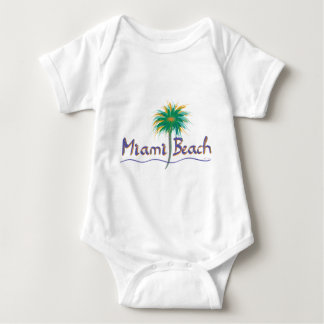 Miami Beach、フロリダのやし ベビーボディスーツ