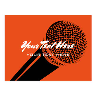 micのロゴのグラフィックとのマイクロフォンの郵便はがきのテンプレート ポストカード