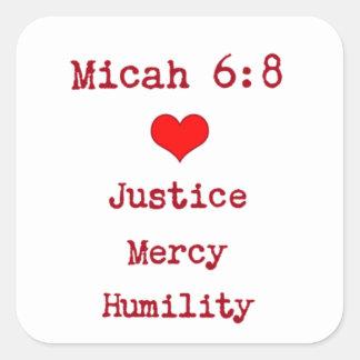 Micahの6:8の聖書の詩のステッカー スクエアシール