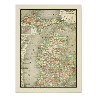 Michigan Colorful Antique Map State & Counties ポスター