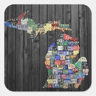 Michigan Counties License Plate Art Sticker スクエアシール