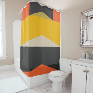 Mid Century Modern Abstract Art Geometric Shapes シャワーカーテン