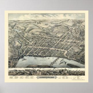MiddletownのCTのパノラマ式の地図- 1877年 ポスター