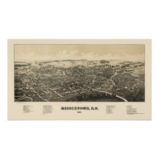 MiddletownのNYのパノラマ式の地図- 1887年 ポスター