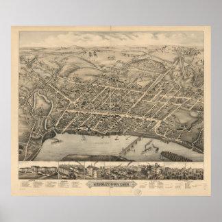 Middletownコネチカット1877の旧式なパノラマ式の地図 ポスター