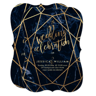 Midnight Blue Marble+Faux Gold Wedding カード