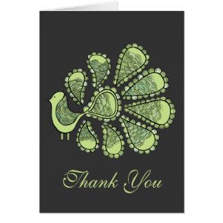Midoriのライムの孔雀の結婚式はメッセージカード感謝していしています ノートカード