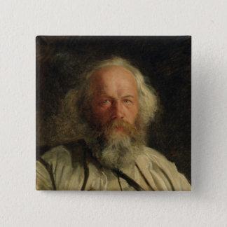 Mikhail Alexandrovich Bakunin 1871年のポートレート 5.1cm 正方形バッジ
