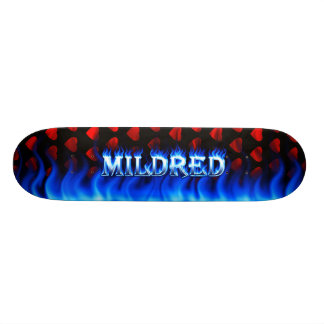 Mildredの青い火のSkatersollieのスケートボード 18.1cm オールドスクールスケートボードデッキ