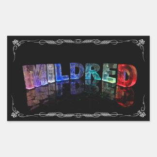 Mildred - 3Dの一流のMildredはつきます(Photogra 長方形シール