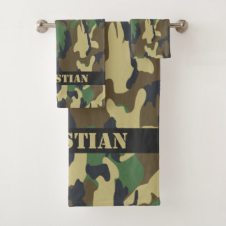 Military Green Camouflaged Pattern Personalized バスタオルセット