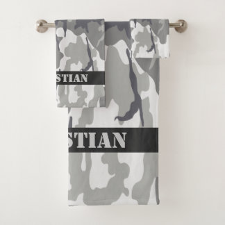 Military Urban Camouflaged Pattern Personalized バスタオルセット