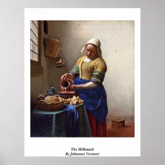 Milkmaid。 ヨハネスVermeer著 ポスター
