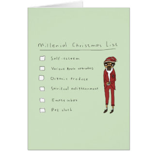 Millenialのクリスマスのリスト|のおもしろいな喜劇的なカード カード
