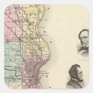 Milwaukee郡、ウィスコンシンの州の地図 スクエアシール