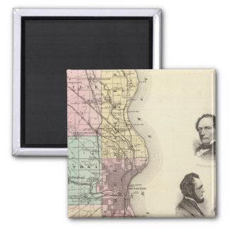 Milwaukee郡、ウィスコンシンの州の地図 マグネット
