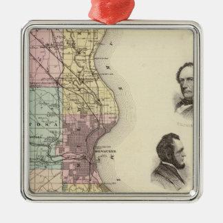 Milwaukee郡、ウィスコンシンの州の地図 メタルオーナメント