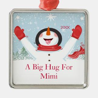 Mimiクリスマスの雪だるまのオーナメントのための抱擁 メタルオーナメント