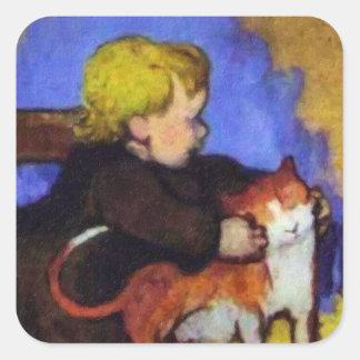 Mimi及び彼女の猫-ポール・ゴーギャン著… スクエアシール