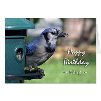 Mimi、鳥の送り装置のアオカケスのための誕生日 カード