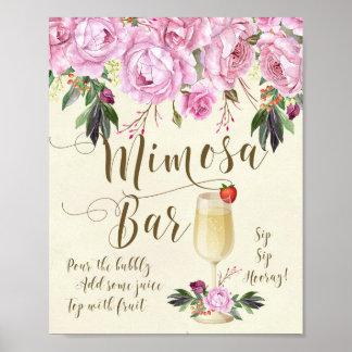 Mimosaのバーの結婚式の印の薄紫の紫色 ポスター