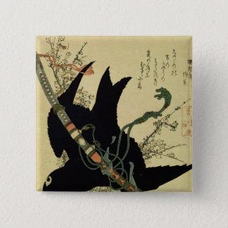 Minamotoの一族の剣を持つ少しワタリガラス 缶バッジ