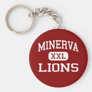 Minerva -ライオン-高等学校- Minervaオハイオ州 ベーシック丸型缶キーホルダー