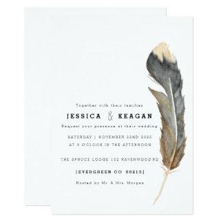 Minimal Watercolor Feather Rehearsal Dinner Invite 12.7 X 17.8 インビテーションカード