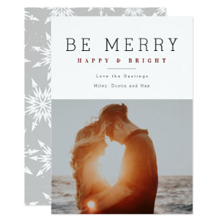Minimalist Merry and Bright Holiday Photo cards カード