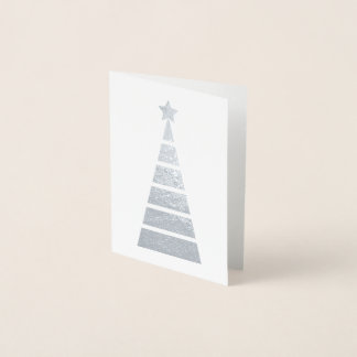 Minimalist Silver Decorated Christmas Tree 箔カード