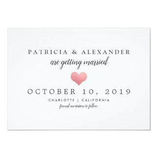 Minimalist Wedding Save The Date Pink Heart カード
