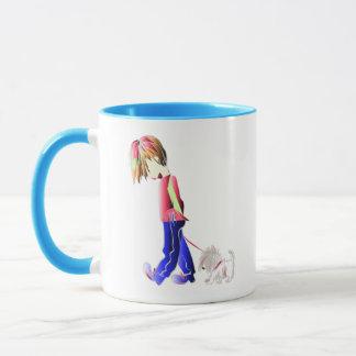Minnie私かわいい男の子の歩く犬のデジタル芸術 マグカップ
