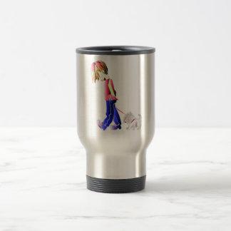 Minnie私! 男の子の歩く犬のデジタル芸術 トラベルマグ