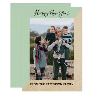 Mint Green Modern Slant New Year's Photo Flat Card カード