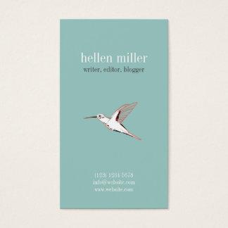 Mint hummingbird elegant minimal cute visit card 名刺