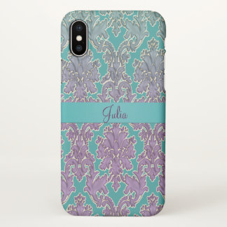 Mint n Mauve Damask Personalized iPhone X Case iPhone X ケース