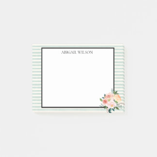 Mint Stripes Spring Peonies Personalized ポストイット
