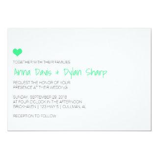 MintHeartのシンプルな結婚式招待状 12.7 X 17.8 インビテーションカード
