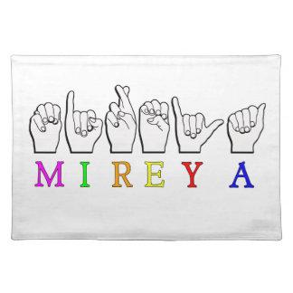 MIREYA ASL FINGERSPELLEDの一流の印 ランチョンマット
