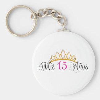 Mis 15 Anosキンセアニェラの金ゴールドのティアラのピンク キーホルダー