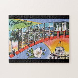 Mississippi_Vintage旅行ポスターからの挨拶 ジグソーパズル