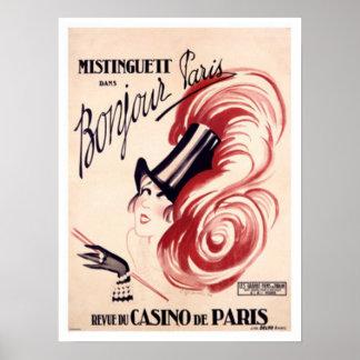 Mistinguett、Bonjourパリ ポスター