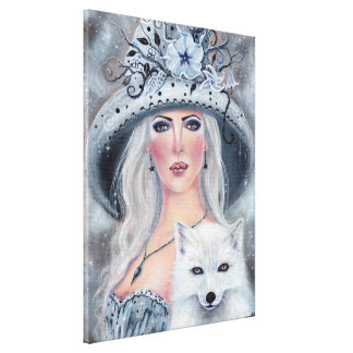 Misty moonflower witch and fox canvas print Renee キャンバスプリント
