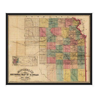 Mitchellのカンザス(1859年)の部門別の地図 キャンバスプリント