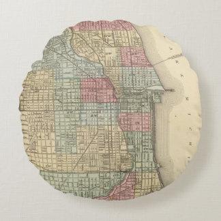 Mitchell著シカゴの地図 ラウンドクッション