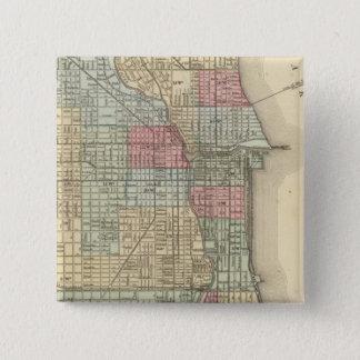 Mitchell著シカゴの地図 5.1cm 正方形バッジ