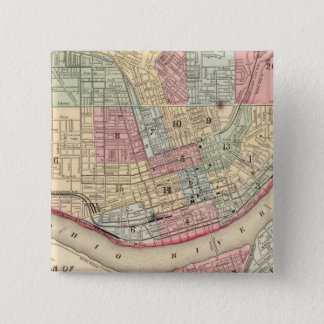 Mitchell著シンシナチの地図 5.1cm 正方形バッジ